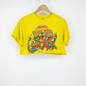 Marvel Comics Crop Top Tee Women's Yellow Medium